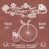 Vintage poster for flower shop design with old bicycle Stock Photography
