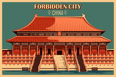Vintage poster of Forbidden City in Beijing famous monument in China Stock Photo