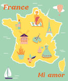 Vintage poster of France with different destinations and landmarks. Royalty Free Stock Image