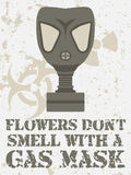 Flowers dont smell with a gas mask Royalty Free Stock Image
