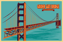 Vintage poster of Golden Gate Bridge in California famous monument in United States Stock Image