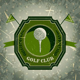 Vintage poster with golf ball. Retro hand drawn vector illustration label golf club Royalty Free Stock Photos