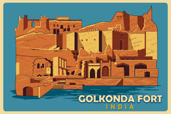 Vintage poster of Golkonda Fort in Hyderabad famous monument of India Stock Photo