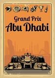 Vintage poster Grand Prix Abu Dhabi. Set symbols - racing sport car f1, cup, helmet, finish flag, wheel, champagne. Vector illustration for poster, logotype, web Royalty Free Stock Photo