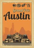 Vintage poster Grand Prix Austin. Set symbols - racing sport car f1, cup, helmet, finish flag, wheel, champagne. Vector illustration for poster, logotype, web Stock Image