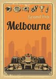 Vintage poster Grand Prix Melbourne. Set symbols - racing sport car f1, cup, helmet, finish flag, wheel, champagne. Vector illustration for poster, logotype, web Stock Photo