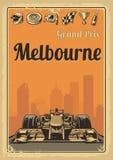 Vintage poster Grand Prix Melbourne Stock Photo