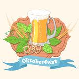 Vintage poster or greeting card for Oktoberfest Beer festival ce Stock Photography
