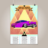 Vintage poster with high detail  lowrider. Grunge Royalty Free Stock Images