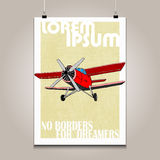 Vintage poster with high detail  plane. Motivation Royalty Free Stock Photo