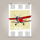Vintage poster with high detail  plane. Motivation Royalty Free Stock Photography