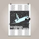 Vintage poster with high detail  shuttle. Grunge Stock Images