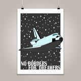 Vintage poster with high detail  shuttle Royalty Free Stock Images