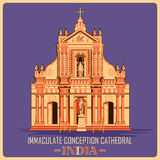 Vintage poster of Immaculate Conception Cathedral in Pondicherry famous monument of India. Vintage poster of Immaculate Conception Cathedral in Pondicherry Royalty Free Stock Image
