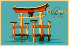 Vintage poster of Itsukushima Shrine in Hatsukaichi famous monument in Japan Stock Photos