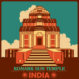 Vintage poster of Konark Sun Temple in Odisha famous monument of India royalty free illustration