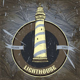 Vintage poster with lighthouse on the grunge background. Stock Photography