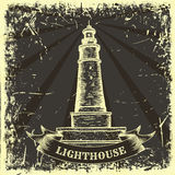 Vintage poster with lighthouse on the grunge background. Royalty Free Stock Image