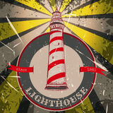 Vintage poster with lighthouse on the grunge background. Retro hand drawn vector illustration Stock Photos