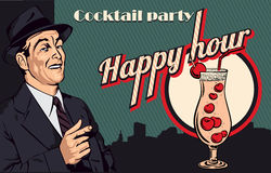 Vintage poster with men and cocktail. Vector Royalty Free Stock Images