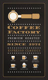 Vintage poster menu coffee factory in retro style Royalty Free Stock Image