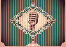 Vintage poster with microphone. Stock Photos