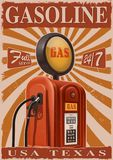 Vintage poster with old gas pump. Retro metal sign for garage Royalty Free Stock Photography