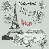 Vintage poster of Paris theme. Vintage old poster of Paris theme.Vector illustration Royalty Free Stock Photo