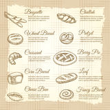 Vintage poster with popular bakery products. Vintage poster with hand drawn popular bakery products. Vector illustration Stock Images