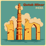 Vintage poster of Qutub Minar in Delhi famous monument of India Stock Image