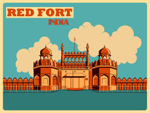 Vintage poster of Red Fort in Delhi famous monument of India Stock Images