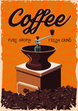Vintage poster with retro coffee grinder. Old style. Vintage handle coffee grinder. Retro poster with bean Stock Photos