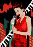 Vintage poster with retro woman. Red dress on woman. Retro microphone. Piano keys. Jazz, soul and blues live music concert poster. Stock Photos