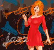 Vintage poster with retro woman singer. Red dress on woman. Retro microphone. Jazz, soul and blues live music concert poster. Vintage poster with cityscape Stock Images