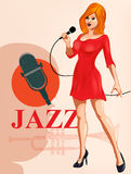 Vintage poster with retro woman singer. Red dress on woman. Retro microphone. Jazz, soul and blues live music concert poster. Stock Photo