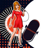 Vintage poster with retro woman singer. Red dress on woman. Retro microphone. Jazz, soul and blues live music concert poster. Stock Images