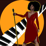 Vintage poster with retro woman singer. Red dress on woman. Retro microphone. Jazz, soul and blues live music concert poster. Vintage poster with cityscape Royalty Free Stock Images
