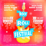Vintage poster of Rock and roll festival. Hot burning rock party. Cartoon Design element for poster, flyer, emblem, logo Stock Photo