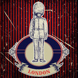 Vintage poster with royal british guard 'London' on the grunge background. Retro hand drawn vector illustration Stock Image