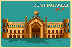 Vintage poster of Rumi Darwaza of Lucknow famous monument of India Royalty Free Stock Photos