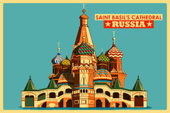 Vintage poster of Saint Basil's Cathedral in Moscow famous monument in Russia. Vintage poster of Saint Basil's Cathedral in Moscow, famous monument of Russia vector illustration