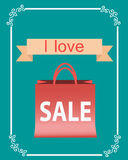 Vintage poster sale. With ribbon and package Royalty Free Stock Image