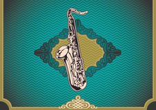 Vintage poster with saxophone. Royalty Free Stock Photo