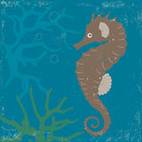 Vintage Poster with Seahorse and Coral Stock Photo