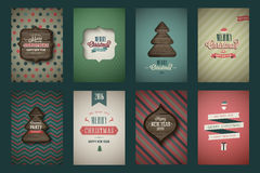 Vintage poster set. Merry Christmas. Vector illustration Stock Photos