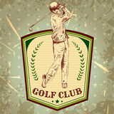 Vintage poster with silhouette of man playing golf. Stock Image