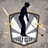 Vintage poster with silhouette of man playing golf. Retro hand drawn vector illustration label golf club Royalty Free Stock Photography