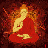 Vintage poster with sitting Buddha on the grunge background over ornate mandala round pattern. Stock Images