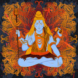 Vintage poster with sitting Indian god Shiva on the grunge background. Stock Images