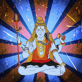 Vintage poster with sitting Indian god Shiva on the grunge background. Stock Photography